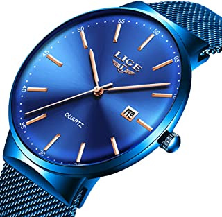 LIGE Mens Watches Ultra-Thin Waterproof Stainless Steel Mesh Wrist Watches Bussiness Dress with Date Analog Quartz Watch Man