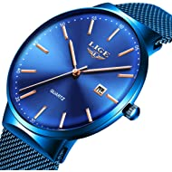 Mens Watches Ultra-Thin Waterproof Stainless Steel Mesh Wrist Watches Bussiness Dress with Date...