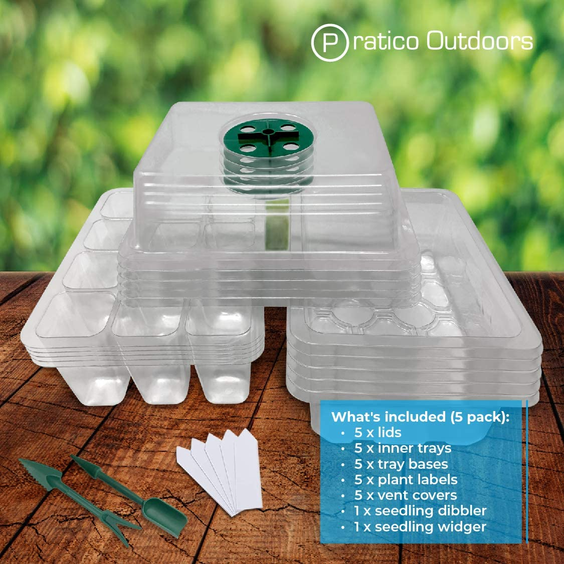 12-Cell Seedling Starter Tray Plant Grow Kit with Dome Clear Base /& Plant Labels 5 Pack