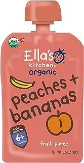 Ella's Kitchen 6+ Months Organic Baby Food, Peaches + Bananas, 3.5 oz. (Pack of 6)