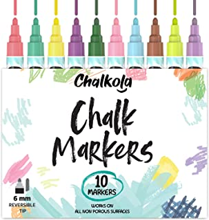 Liquid Chalk Markers for Chalkboards (10 Vintage Colors) | Kid Safe, Non-Toxic, Dustless & Erasable | 6mm Reversible Bold...