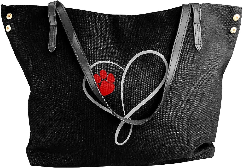 Cat Dog Paw Prints Heart Women'S Casual Canvas Sling Bag For Shopping Big Shopping Bag