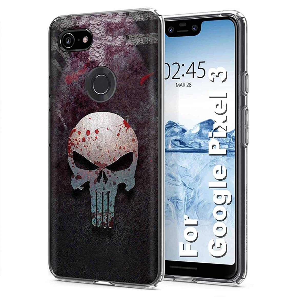 [PlusBrite] Google [Pixel 3] [Clear] Flex Defender Soft Slim Phone Cover Case Feature Ultra-Thin, Soft to Touch TPU Case for Pixel3,Pixel 3 [Punisher Print] Design in USA