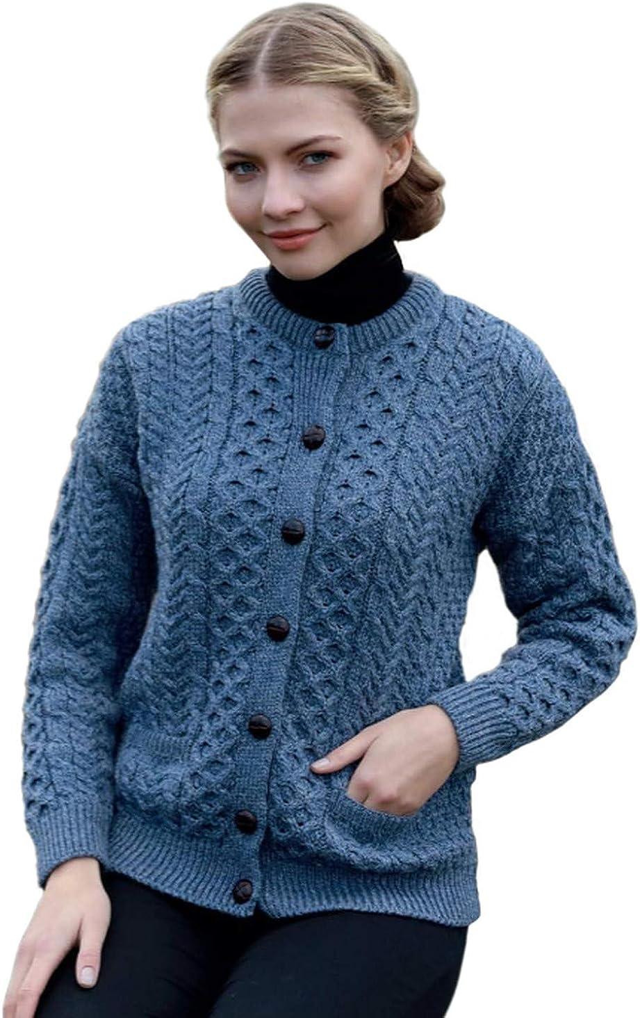 Irish Aran Cardigan Sweater for Women Made in Ireland Merino Wool Lumber Jacket