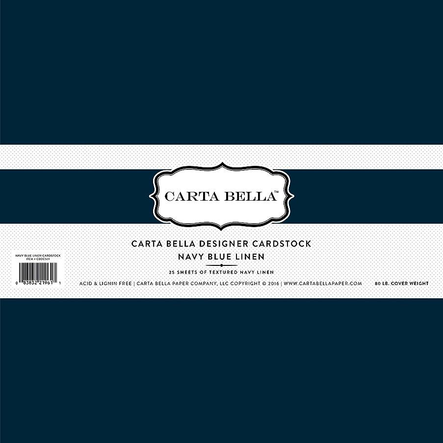 Carta Bella Paper Company Navy Blue Linen Cardstock, 80 lb