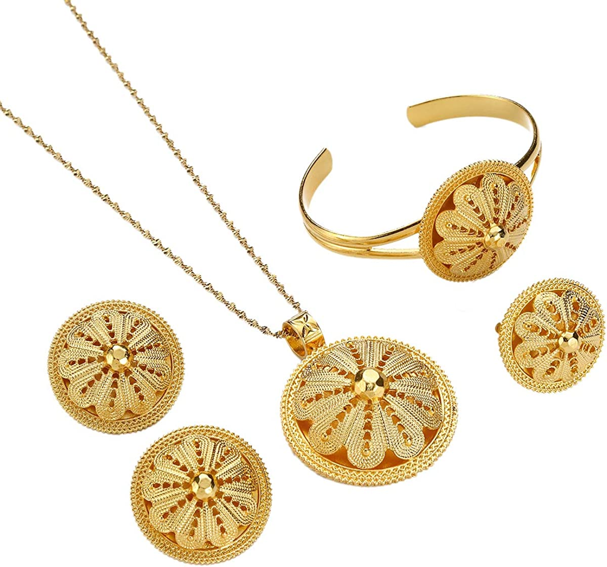 Ethiopian Sets Necklace Bangle Earrings Ring Jewelry Sets Gold Color Eritrean Best