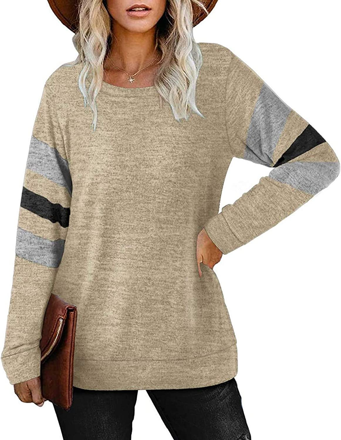 Casual Fall Pullover Oversized T-shirts 2021 Womens Tunic Tops Long Sleeve Loose Fitting Daily Casual Tops