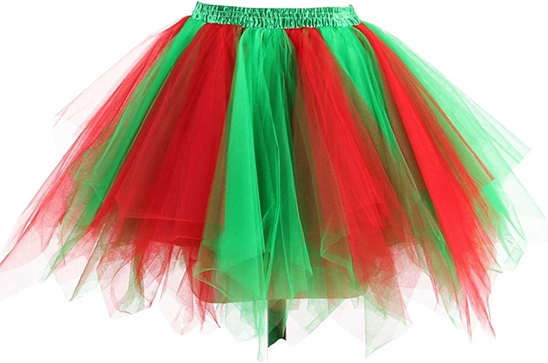 Honeystore Damen's Neuheiten Tutu Unterkleid Rock Ballet Petticoat Abschlussball Tanz Party Tutu Rock Abend Gelegenheit Zubehör Rot und Grün