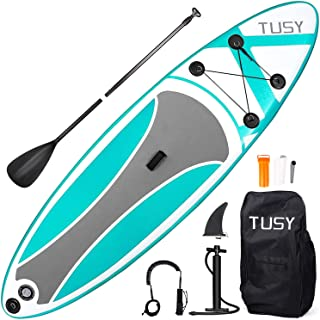TUSY Inflatable Paddle Boards Inflatable Paddleboards Stand up with SUP Paddle Board Accessories and Carry Bags, Non-Slip Deck, Paddles, Leash and Fin for Surf Standing Boat for Youth & Adult, 10FT
