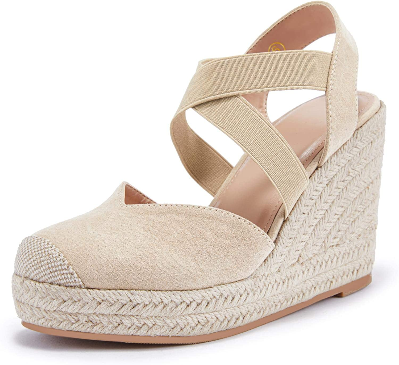 Womens Max 55% OFF Wedge Espadrille overseas Sandals Platform Elastic Criss Str Cross