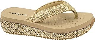 Dunlop Ladies Toe Post Low Wedge Flip Flops Raffia Beach Summer Sandals Shoes Size 3-8