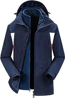 GAOXIAOMEI Men's 3 in 1 Ski Long Jacket Thickening Two-Piece Waterproof Outdoor Casual Outwear Adjustable Warm Fleece Coat...