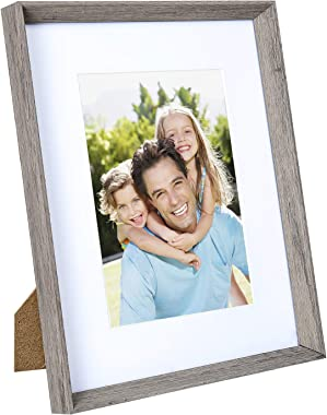 Sindcom 8x10 Picture Frame with High Definition Glass Face, Display Pictures 5x7 with Mat or 8x10 Without Mat, Rustic Photo F