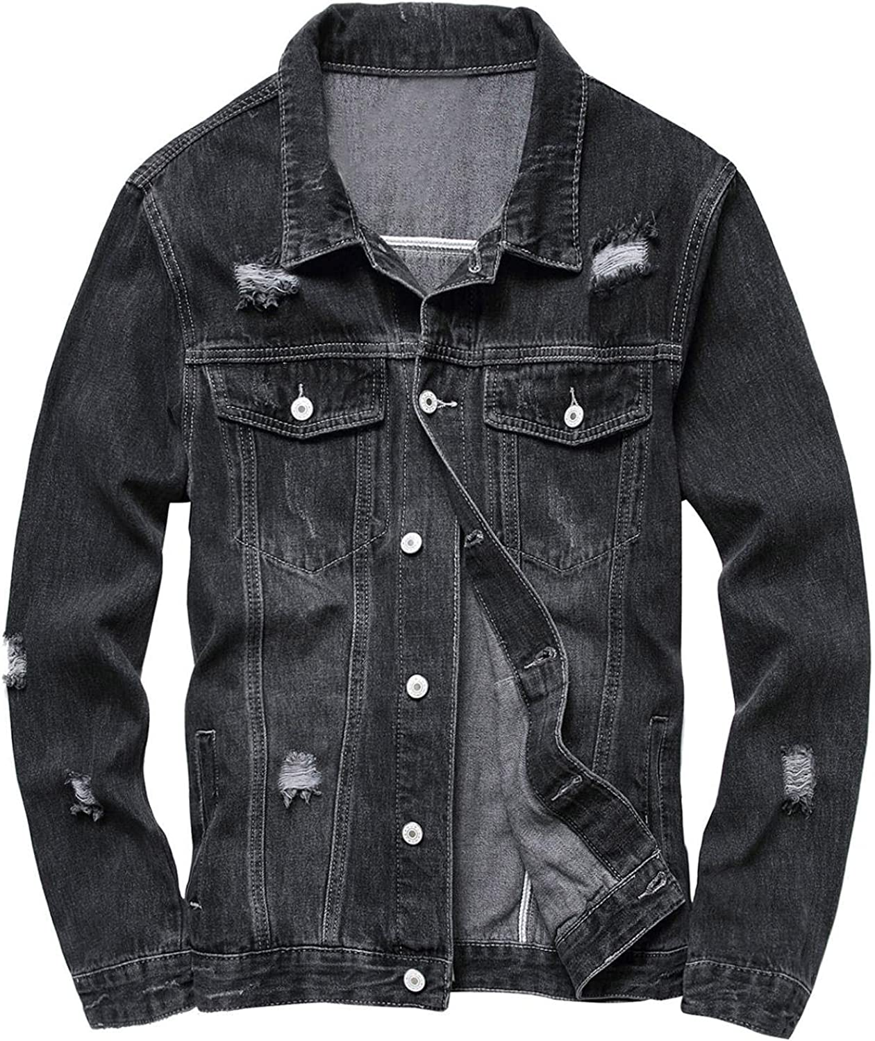 Ripped Jeans Jackets for Men Distressed Denim Trucker Jacket Washed Hiphop Vintage Coat Button Front Casual Blouse