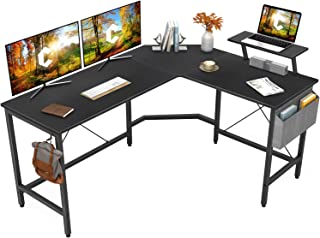 Cubiker Modern L-Shaped Computer Office Desk, Corner Gaming Desk with Monitor Stand, Home Study Writing Table Workstation ...