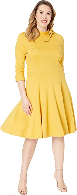 Plus Size Knit 3/4 Sleeved Parker Flare Dress