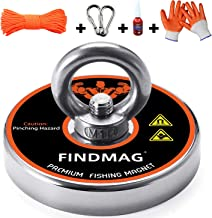 FINDMAG Fishing Magnets, Magnet Fishing, 550 LBS Pulling Force Super Strong Neodymium Round Magnet for Magnetic Fishing - 2.95inch Diameter