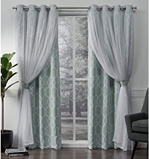 Exclusive Home Curtains Carmela Layered Geometric Blackout and Sheer Window Curtain Panel Pair with Grommet Top, 52x84, Aqua, 2 Piece