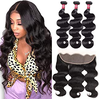 Haha Body Wave 3 Bundles with Frontal 8A Brazilian Body Wave Virgin Human Hair with 13x4 Frontal Free Part Ear to Ear Lace Frontal with Bundles 20 22 24 + 18