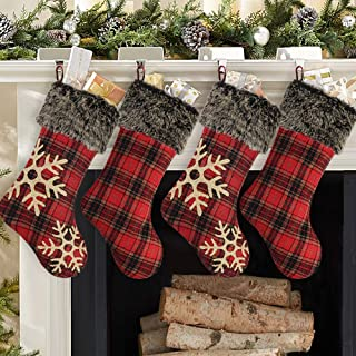Ivenf Christmas Stockings, 4 Pcs 18 inches Burlap with Large Plaid Snowflake and Plush Faux Fur Cuff Stockings, for Family Holiday Xmas Party Decorations
