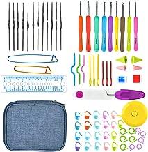 Cozywind Crochet Hooks Set with Case Aluminum Crochet Knitting Needles Weave Yarn Kit Ergonomic Handle with 51 Weaving Accessories for Beginners Experienced Crocheters (Blue)