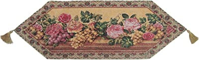 DaDa Bedding Parade of Fruit and Rose Woven Table Runner Floral 13 by 38 Inches