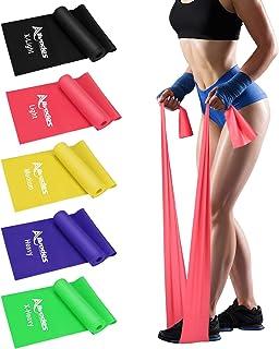 باندهای تمرینی Allvodes برای تمرین ، باندهای مقاومت با 5 سطح مقاومت ، باندهای الاستیک مناسب پوست با کیف حمل برای تمرین در خانه ، تمرینات قدرتی ، یوگا ، پیلاتس