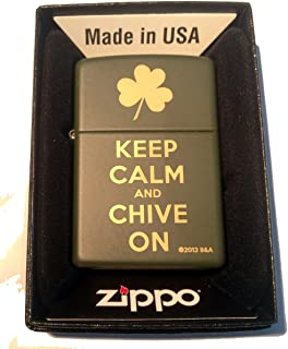 Zippo Custom Lighter - Keep Calm and Chive on Laser Engraved Green Matte Finish Rare!