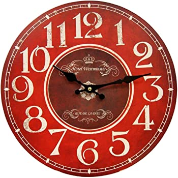 "HDC International 05-0082 Round Wall Clock, 13"", Red"