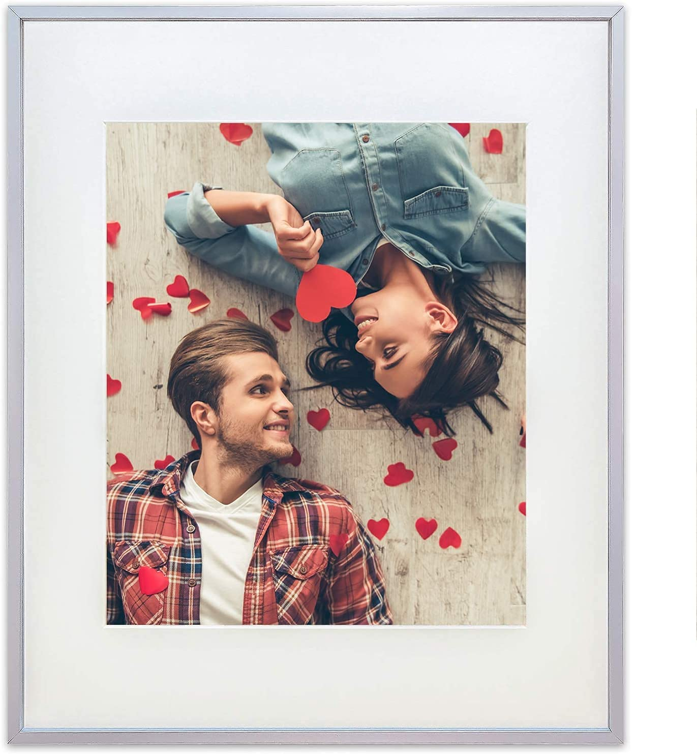 TheDisplayGuys Aluminum Metal 11x14 Picture Frame w. Tempered Glass matted to 8x10 (Silver) for Horizontal & Vertical Wall Hanging