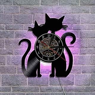 クリエイティブ ビニールレコードの壁掛け時計 常夜灯 レトロな郷愁 ウォールアートの家の装飾 クォーツムーブメント 12'' - ネコ,D