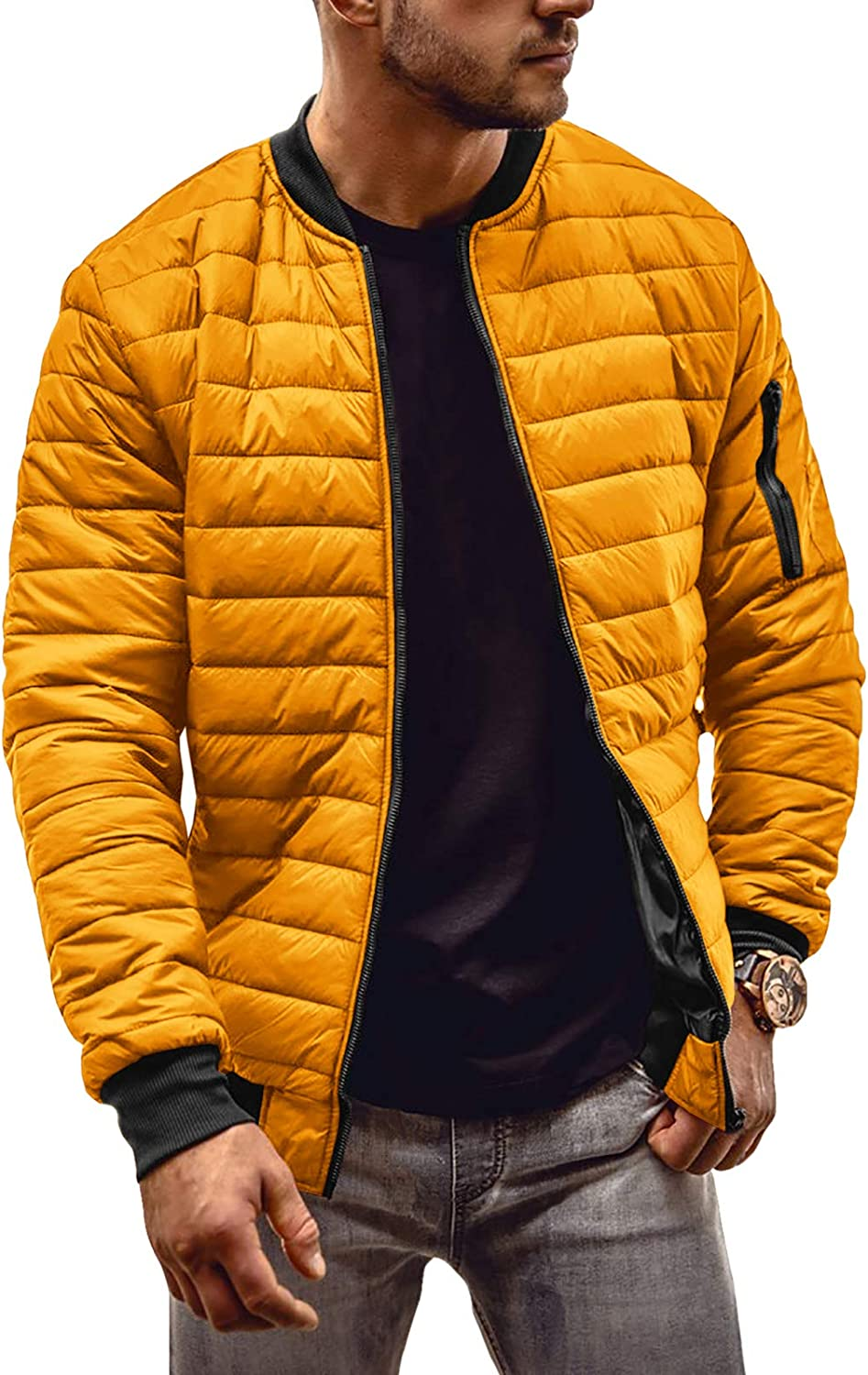 Mens Quilted Jackets Bomber Varsity Winter Fall Chunky Coats Outwear Outdoor Jackets