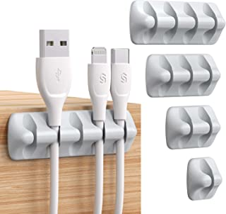 Syncwire Cable Clips, 5 Pack Gray Cord Organizer Cable Management Self Adhesive Cable Holder for Organizing Cable Cords, Ideal for Home, Office, Cubicle, Car, Nightstand, Desk Accessories
