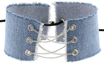 8cdc143fa0 PyLios Design handmade lace up bowknot tassel denim choker vintage necklace women  punk trendy splice wide