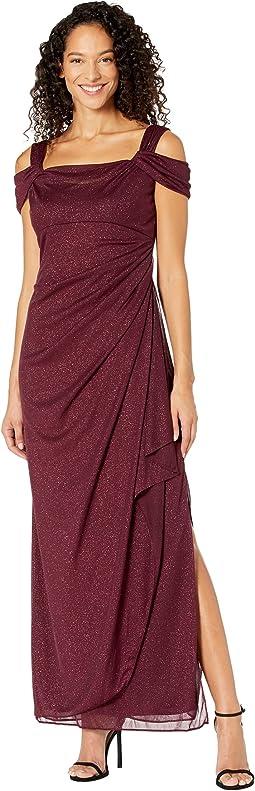Long Glitter Mesh Cold Shoulder Dress