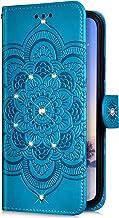 Uposao Compatibel met Moto P30 Play beschermhoes van PU-leer, elegant, mandala-bloem, glitter, glanzend, flip-case-cover, ...