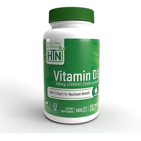 Vitamin D3 2000 IU, 100 Softgels, Soy Free, Natural Vitamin D.