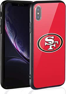 Sportula NFL Phone Case - 9H Tempered Glass Back Cover and Silicone Rubber Bumper Frame Compatible Apple iPhone X/iPhone Xs (San Francisco 49ers)