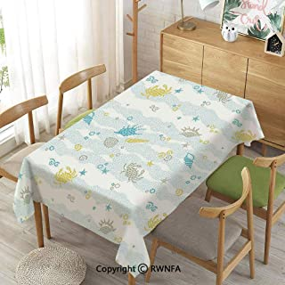 Homenon Wipe Clean Tablecloth for Rectangle Tables,Maritime Decor Crabs and Seashells on Spotty Background Decorative Print,Waterproof Stain-Resistant,Blue and Yellow,55
