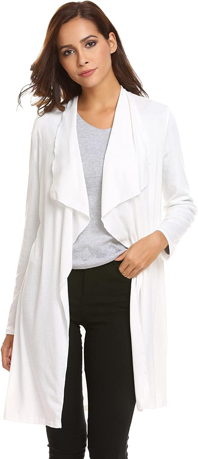 Yealsha Women's Long Sleeve Spring Solid Open Front Knit Cardigan with Pockets