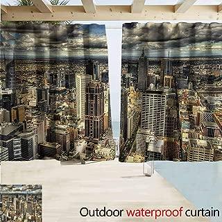 Urban Outdoor Grommet Top Curtain Panel Melbourne Cityscape Modern Australia Architecture Buildings Metropolis Dramatic Sky Perfect For Your Patio, Porch, Gazebo, or Pergola W55