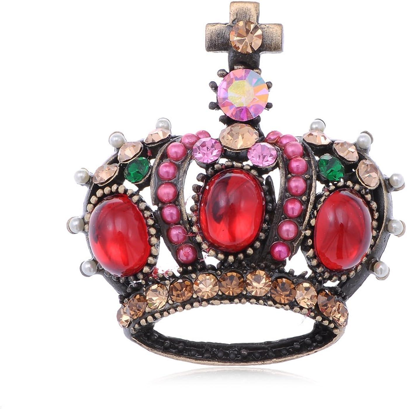 Alilang Gunmetal Tone Bronze Multicolored Rhinestones Antique Vintage Inspired Crown Brooch Pin