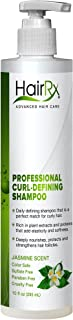 HairRx Professional Curl-Defining Shampoo with Pump, Luxurious Lather, Jasmine Scent, 10 Ounce