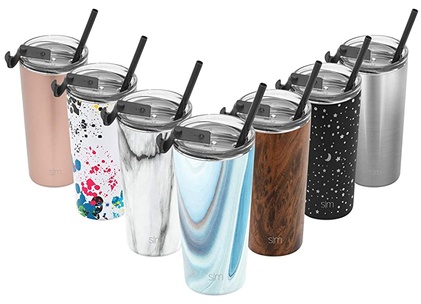 Simple Modern 20oz Classic Tumbler Travel Mug with Clear Flip Lid & Straw - Coffee Vacuum Insulated Gift for Men and Women Beer Pint Cup - 18/8 Stainless Steel Water Bottle Pattern: Ocean Quartz