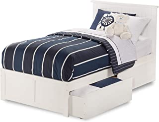Atlantic Furniture Nantucket Platform Bed with 2 Urban Bed Drawers, Twin, White