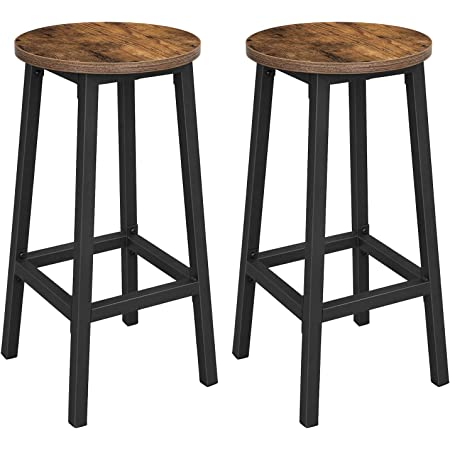 VASAGLE ALINRU Bar Stools, Set of 2 Bar Chairs, Steel Frame, 25.6 Inch Tall, for Kitchen Dining, Easy Assembly, Industrial Design, Rustic Brown and Black ULBC32X