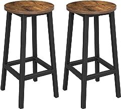 VASAGLE stołek barowy, zestaw 2 krzeseł barowych, krzesła kuchenne z mocną stalową ramą, wysokość 65 cm, okrągłe, łatwy mo...