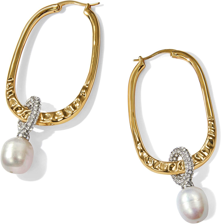 Pearl Hoop Earrings 18K Financial sales sale Gold Plated with Award Cubic Drop Dangle