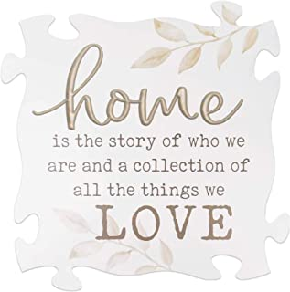 P. Graham Dunn Home is The Story Whitewashed 23 x 23 Wood Decorative Puzzle Piece Plaque
