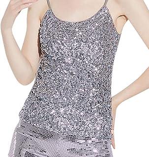 a7988ecb7a3 Mnyycxen Women s Sleeveless Sparkle Shimmer Camisole Vest Glitter Sequin Tank  Tops Spaghetti Strap Party Top